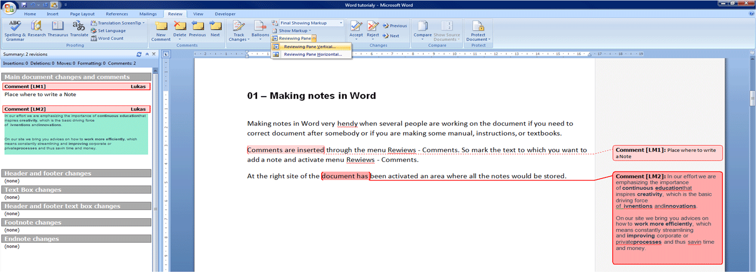 01 – Making notes in Word | Learning Motivates Creative Thinking