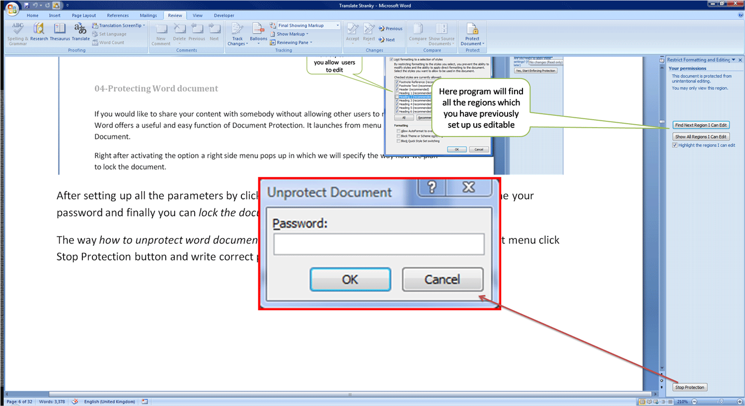 04 how to protect word document learning motivates for Word documents protected