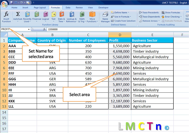Excel Define Name Range - Ranges in excel