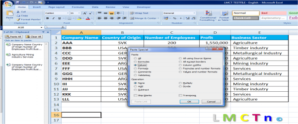 copy paste text from pdf to excel