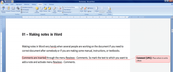 add notes in word