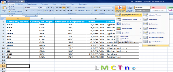 Formating in Excel and conditional formating in Excel