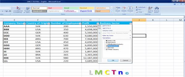 Filtering in Excel