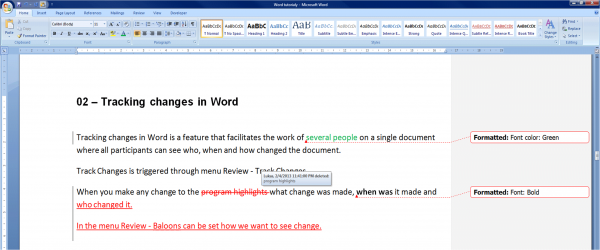 microsoft word tracking changes