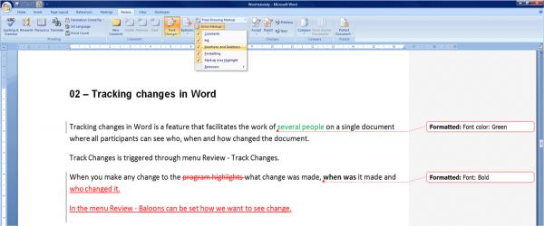 word change tracking