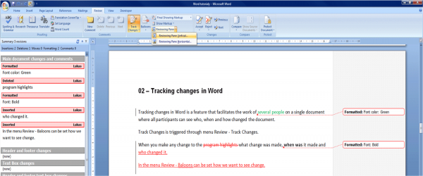 tracking changes in word