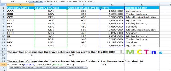 Excel Countif multiple criteria