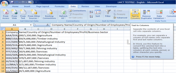 Excel import text file