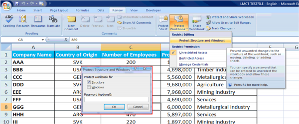 Protection in Excel
